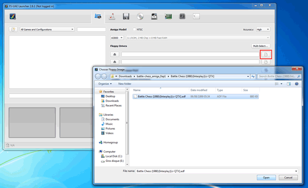 FS-UAE screenshot 3 - choose adf file