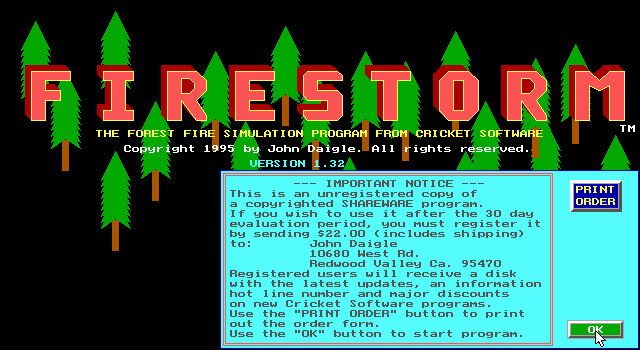 Firestorm: The Forest Fire Simulation Program 0