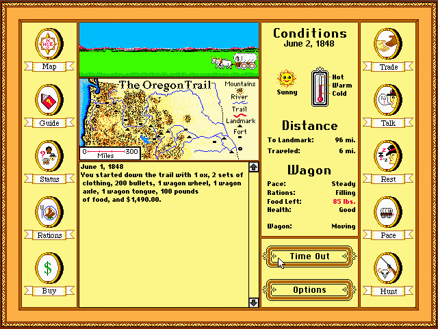 Screens Zimmer 6 angezeig: the original oregon trail game