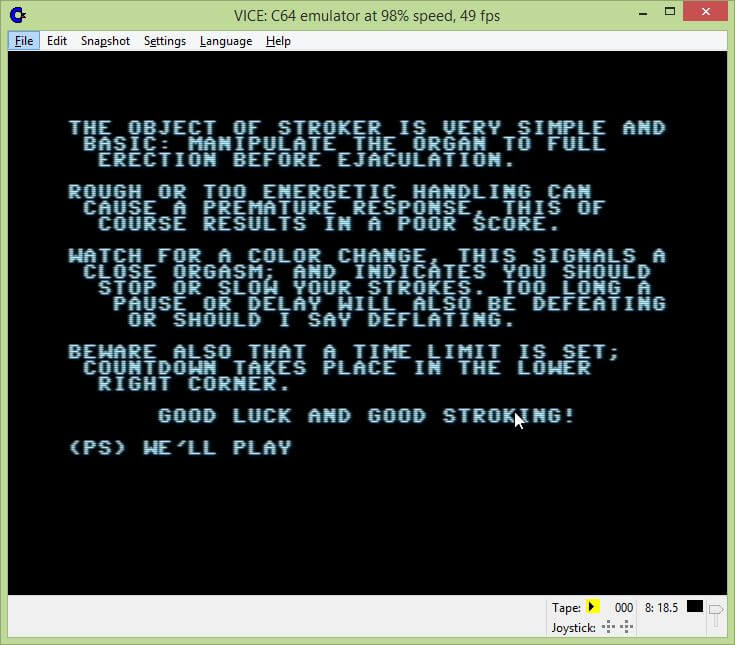 Stroker Commodore 64