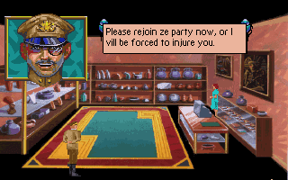 "A guy in a military uniform saying ""Please rejoin ze party now, or I vill be forced to injure you."" myabandonware.com"